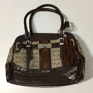 Guess Brown Patterned Satchel/Handbag